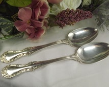 Vintage Pair Silver Plate Serving Spoons , Kings Pattern ( Mappin and Webb )