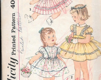 Vintage 1950s Simplicity Sewing Pattern 3374- Girls' Dress size 3