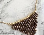 Bronze Bib Necklace-Statement Necklace