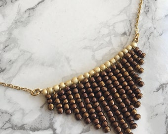 Bronze Bib Necklace-Statement Necklace