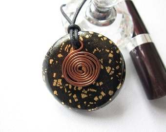 Womens pendant, polymer clay and copper pendant, womens necklace, womens cord necklace, pendant necklace