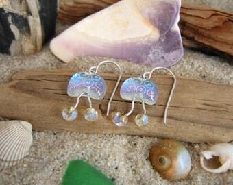 Fused Dichroic Glass Jellyfish Earrings