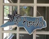 """UNC Tarheels """"Go Heels"""" Burlap Door Hanger"""