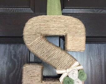 Jute Monogram Wreath With Felt Rosettes.  Twine Letter Wreath. Summer Wreath Door Hanging