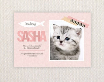 Kitten Announcement Card. I Customize, You Print.