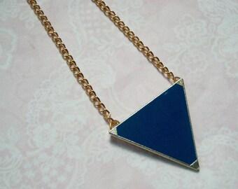Gold chain triangle metal blue geometric