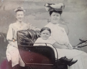 Pudgy Girl in Automobile // Car tintype, mother daughter posed in early automobile 1800's, antique car photo, automobile tintype