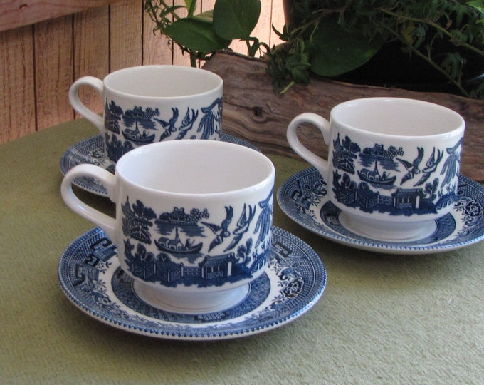 Blue Willow Ware Cups and Saucers Churchill 1989 Set of Three (3) Coffee Cups