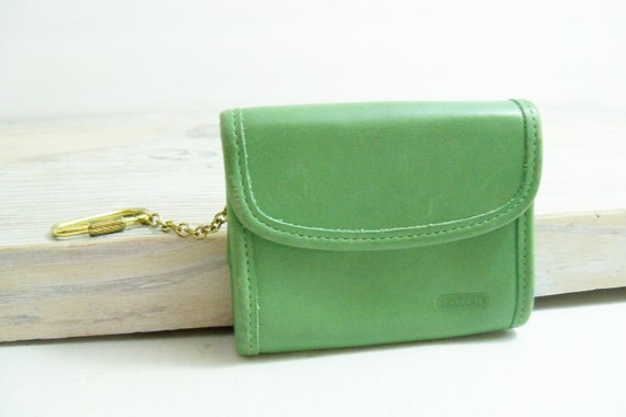 Vintage Coach Green Leather Coin Purse Key Ring Change Purse Coach Leather Wallet Snap Closure 1980s