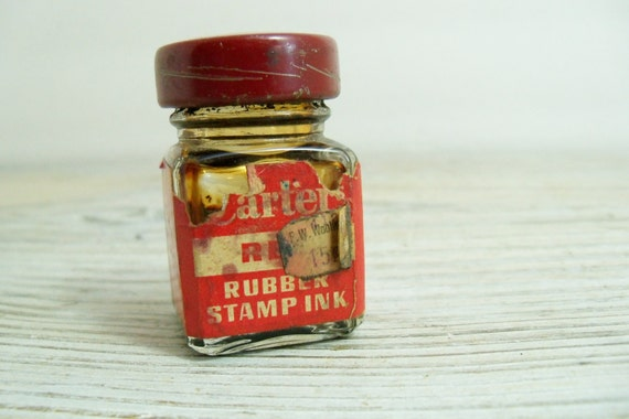 Vintage Cartel Red Rubber Stamp Ink Glass Ink Bottle F W Woolworth Ticket 15 cents Made in USA 1940s