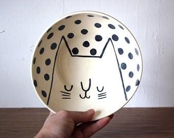 Three-Legged Cat Dish with Black Polka Dots