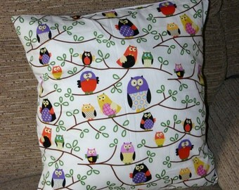 "18 x 18 pillow cover, Owl cushion cover, owl pillow cover, 18"" cushion cover, home decor, owl gift, chic cushion cover, chic decor"