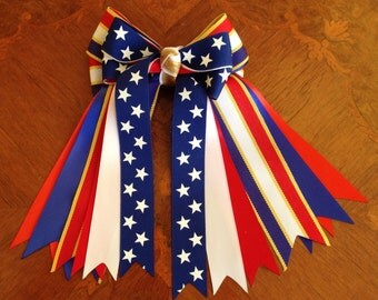 Patriotic Bows for Horse Shows/hair accessory/red white blue