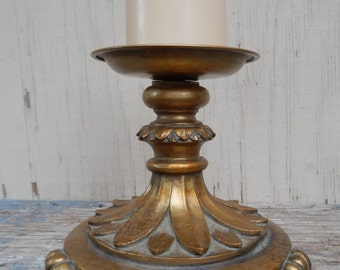 Regency Antique Gold Pillar Candle Holder!