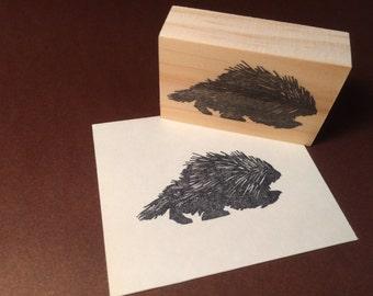 Hand carved rubber stamp - porcupine design.