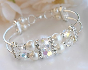 Swarovski Crystal and Pearl Double Bangle Bracelet