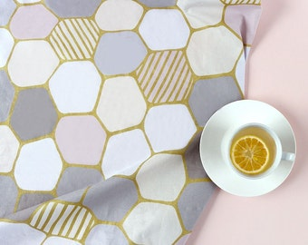 Hexagon Pattern with Gold Line Oxford Fabric by Yard