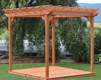 Red Cedar 6x8 Pergola Swing Bed Stand With Deck