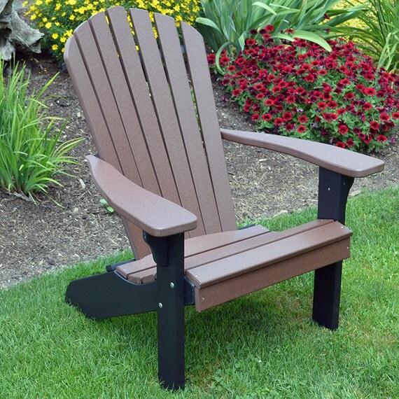 Recycled Plastic Fan Back Adirondack Chair W Black Frame