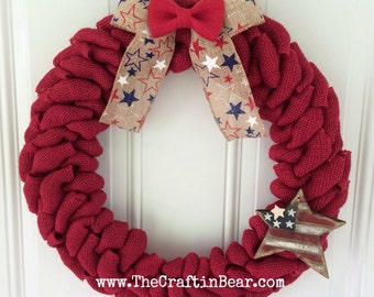 Burlap wreath - Patriotic wreath - red white & blue - 4th of July wreath - American wreath - 4th of July decor - Americana - USA wreath