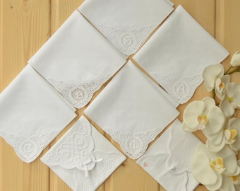 set of 5 handkerchief monogrammed on corner with unique embroidered gift bag. gift box included! only monogram! initial