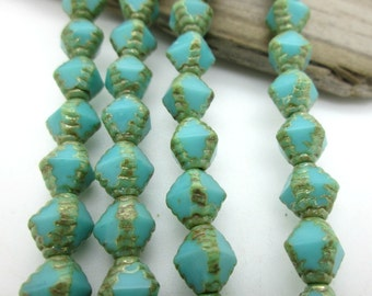 "Czech Glass Bicone Bead, Turquoise Blue with Gold Etching, 8x5mm (7""strand)"