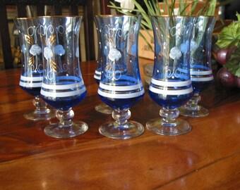 Beautiful Vintage Italian Design Hand Painted Blue Stemware Set of Six
