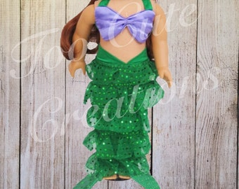 Little Mermaid Doll Costume made to fit like american girl clothes, 18 inch Doll
