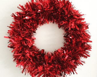Red Valentine Wreath Red Christmas Wreath Winter Wreath Tinsel Holiday Wreath Trendy Christmas Wreath Wedding Decor Valentine's Day Wreath