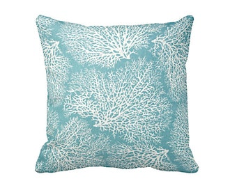 6 Sizes Available: Blue Throw Pillow Covers Decorative Pillow Cover Blue Pillow Coral Pillow Nautical Pillow 12x24 18x18 20x20 inches
