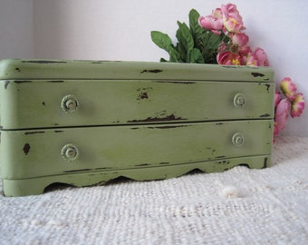 Shabby Cottage Sage Painted  Wood Jewelry Box