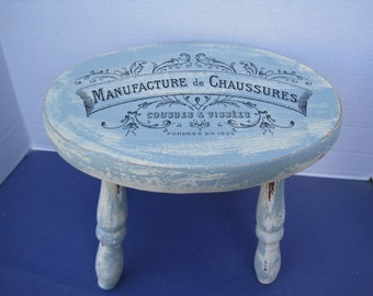 Shabby and Distressed French Decal Hand Painted Wood Milking Size Stool