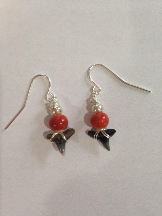 shark tooth earrings orange earrings sterling silver