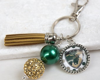 University of South Florida Key Chains, USF, South Florida Bulls, Rocky the Bull, Green and Gold,College Key Chains, Game Day, College Gifts