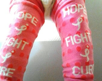 SALE!**FIGHT for the CURE baby leg warmers, breast cancer awareness baby clothes