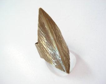 Hammered Bronze Statement Ring Wide Band Adjustable Modern Bronze Handmade Ring Antique Face Bronze Ring