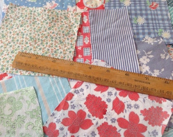Scrap bundle vintage Fabric for small projects patchwork appliqué card marking