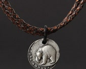 California, Grizzly, Braided, Metalwork, Streampunk, Leather, Twill, Necklace, Pendant, Vintage, Engraved, Coin Charm