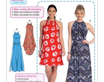 McCall's Pattern M7405 Misses' Gathered-Neckline Dresses with Ties, and Belt