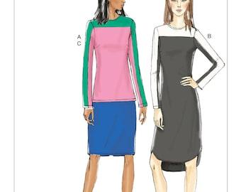 Vogue Pattern V9166 Misses' Contrast Yoke Tunic, Dress and Skirt