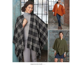 Simplicity Pattern 8173 Misses' No Sew Poncho