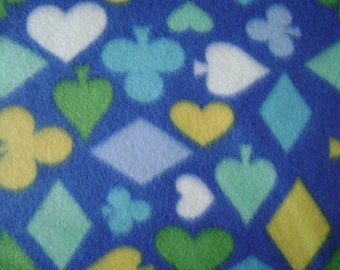 Hearts, Clubs, Spades, Diamonds Fleece Fabric Sold by the Yard