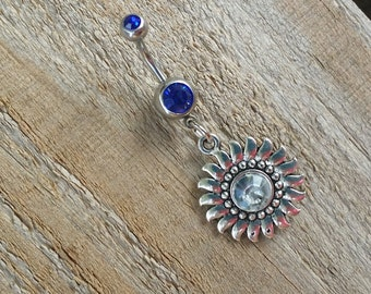 Rhinestone Sun Belly Button Ring, Gemstone Navel Ring, Silver Body Jewelry, Navel Piercing.