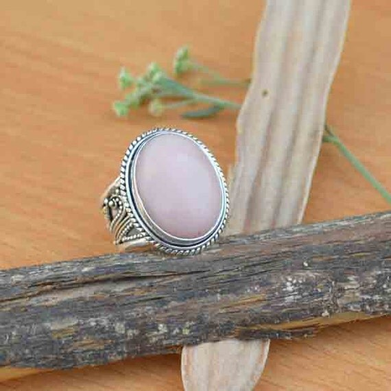 Pink Opal Ring Sterling Silver Ring Pear Peruvian Pink Opal Ring Minimalist Jewelry October Birthstone Gift Jewelry Pink Gemstone Size 9.5
