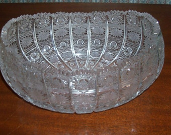 "Reduced: Vintage Queen Lace Bohemian (Czech) Cut Crystal Jardiniere 8"" Bowl -  Hand-Blown, Hand-cut Cut Star Design"