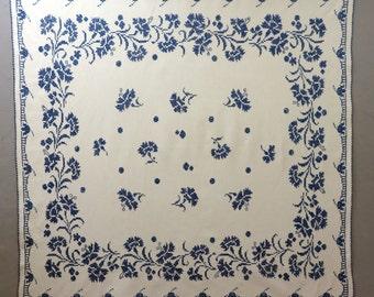 Vintage 1930's Linen Blue Cross-Stitched Table Cloth