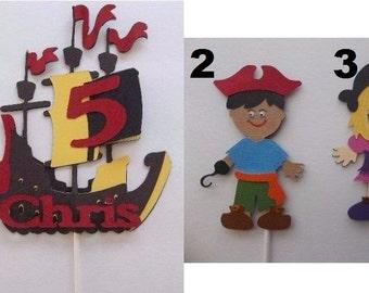 Pirate cake topper, Pirate centerpiece, pirate topper, ship cake topper, cake topper