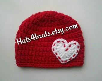 Crochet Valentine's Day Hat, Baby Valentine's Day Crochet Hat, Newborn Valentine's Day Photo Prop, Infant Valentine Hat, Valentine's Beanie