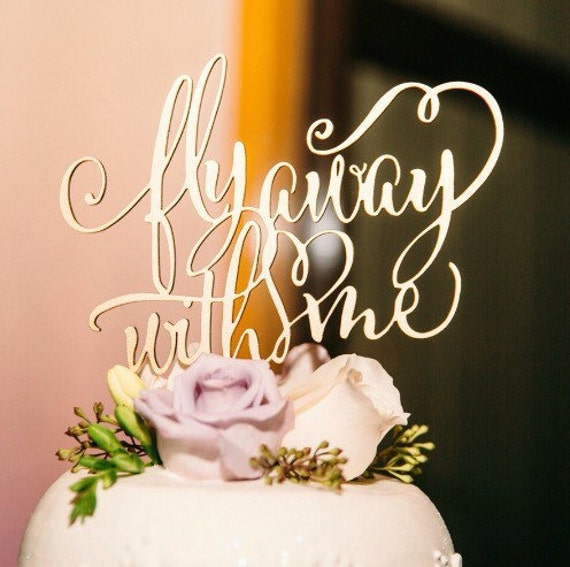 Rose Gold Cake Topper, Fly Away With Me, Wedding Cake Topper, Engagement Cake, Bridal Shower Cake Topper, Gold Cake Topper, Glitter Cake