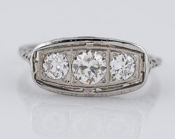 1930's Engagement Ring Art Deco .64cttw Old European Cut Diamonds in Vintage 18k White Gold